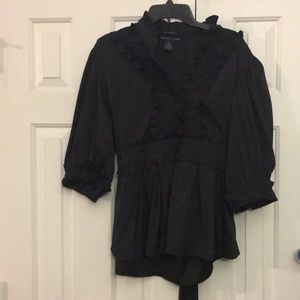 Antilia Femme Black Blouse ties on back 3X